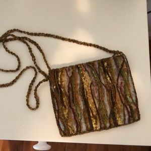 Beaded sequence clutch purse